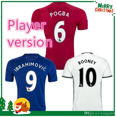 timeless design 659ca dd17d Player version 16 17 UnITED IBRAHIMOVIC POGBA Soccer Jerseys Uniforms  SCHWEINSTEIGER MEMPHIS ROONEY