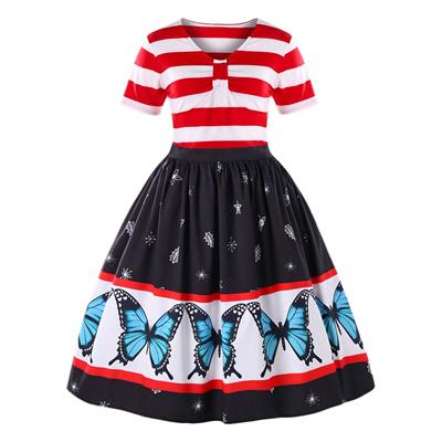 Qoo10 Plus Size Butterfly Pattern Swing Dress Womens Clothing