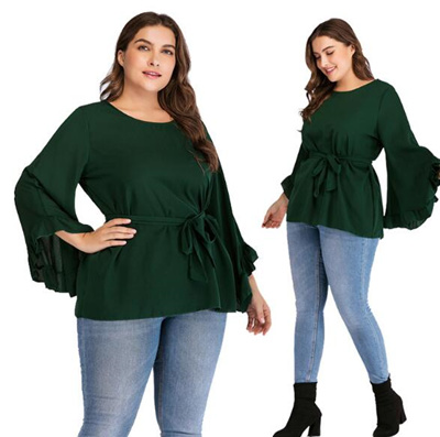 55488c7066655 Qoo10 - Plus Size New round neck long sleeve solid color strap trumpet  sleeve ...   Women s Clothing