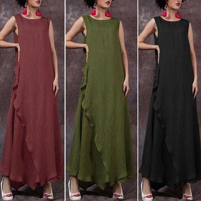 92a46cf488de Qoo10 - Plus Size Summer Women Sleeveless Retro Loose Casual Kaftan Long  Maxi ... : Women's Clothing