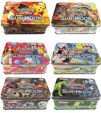 Pokemon Trading Card Cards Tcg Sun Moon Metal Box Booster Pack Kids Toy