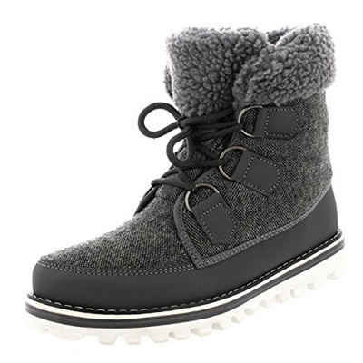 0776f4b35 Polar Products Womens Waterproof Durable Snow Winter Hiking Fleece Ankle  Boots - Gray Nylon - US9