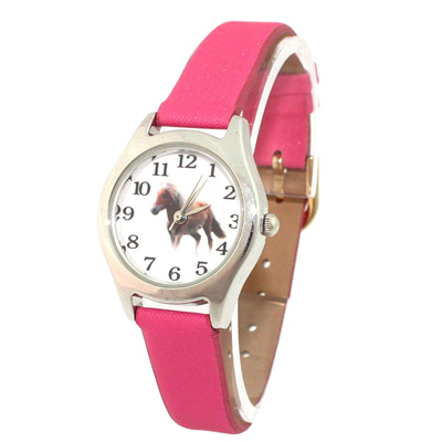 Popular Cute Girl Ladies Watch Kids Watches Horse Pink Leather Quartz Student Kids Animal Cartoon