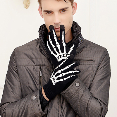 Post fall/winter skull ghost touch screen gloves new men' s warm touch  screen gloves knitted 2-co