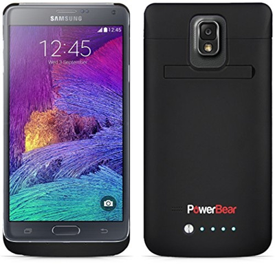 promo code 8d605 cdaa0 PowerBear® Samsung Galaxy Note 4 Battery Case [Energy Series] - Protective  Extended Rechargeable Power Case [Up to 125% More Battery Power] - 4800mAh  ...