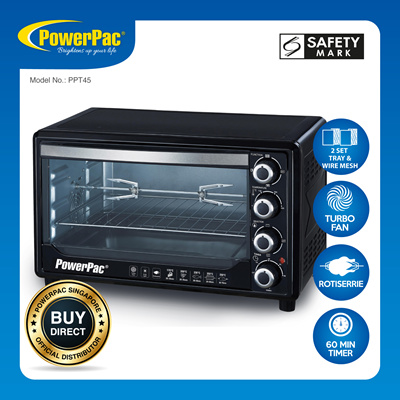 PowerpacPowerPac 45L Electric Oven with 2 tray / 2 wire mash / rotisserie  and Convection (PPT45)