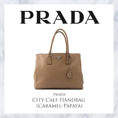 78fc2310534446 Qoo10 - Prada City Calf Handbag (Caramel-Papaya) : Bag & Wallet