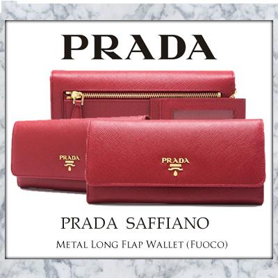 15cfdfa4e9bd ... spain prada saffiano metal long flap wallet fuoco ad1e6 8c590
