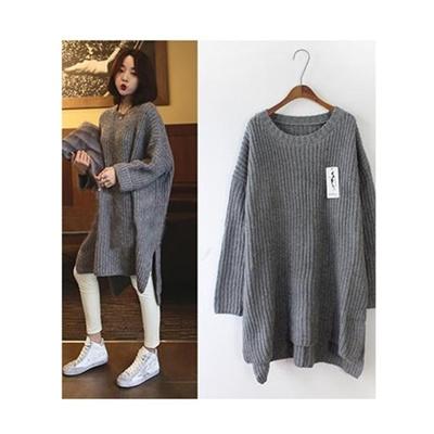 57d449aa7d283 Qoo10 - Pregnant Women Winter Warm Loose Oversized Maternity Dress Sweater  Dre... : Women's Clothing