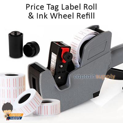 ★ Price Tag Label Sticker Roll / Ink Wheel Refill ★ Pricing Labeller Gun  Machine Minimart Retail