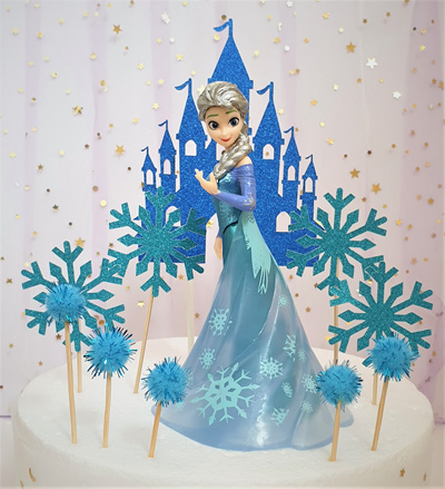 Princess Birthday Cake|Frozen Elsa with Snowflakes and Castle Cake  Toppers|Princess Party Decoration