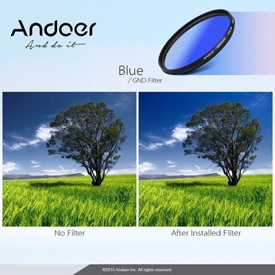Professional 58mm Camera Lens GND Graduated Blue Filter Neutral Density For Canon N