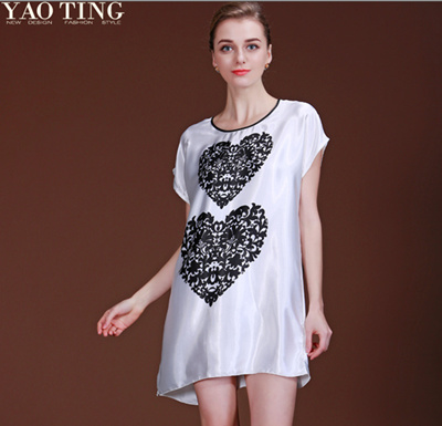 Promotion fiber silk women dress sleep dress printed silk sleep dress  nightskirt for women fashion home fd94669e8