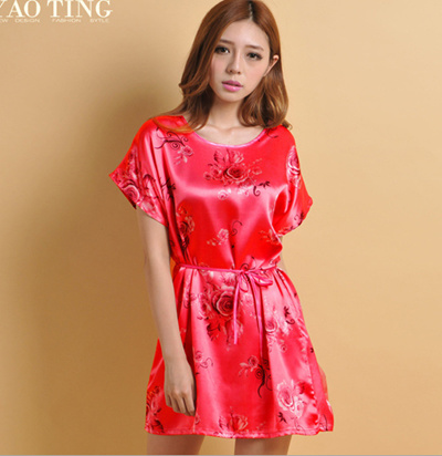 11bbd2d938 Promotion fiber silk women dress sleep dress printed silk sleep dress  nightskirt for women fashion h