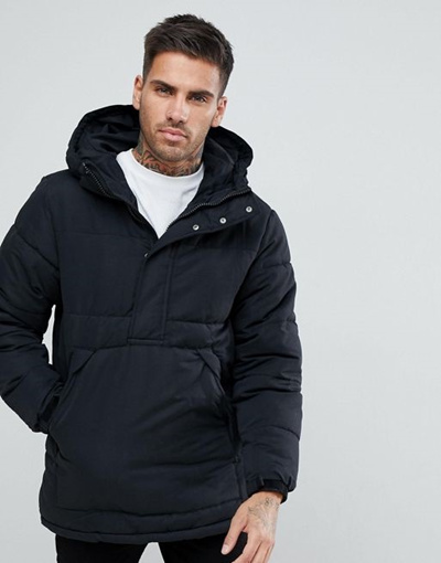 b46af1955a6d4 Qoo10 - Pull   Bear Half Zip Padded Jacket With Hood In Black   Men s  Apparel