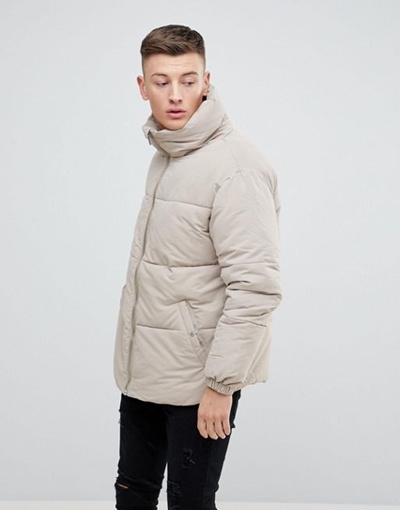 598ecb0dd4c67 Qoo10 - Pull   Bear Padded Jacket In Beige   Men s Apparel