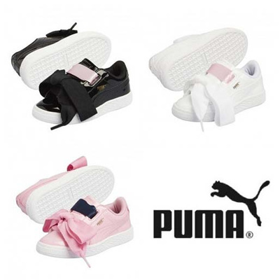 ☆Free Gift☆ PUMA   BASKET HEART PATENT PS   KIDS SHOES   Ribbon Lace 24cce17f1