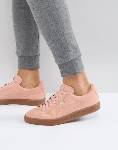reputable site ffea3 b89d9 Puma Suede Gum Sole Sneakers In Pink 36324220