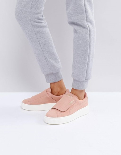 best website b1bc5 04d3d Puma Suede Strap Platform Sneakers In Pink