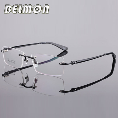 d2aa512289 Qoo10 - Pure Titanium Spectacle Frame Eyeglasses Men Rimless Computer  Optical ...   Fashion Accessor.