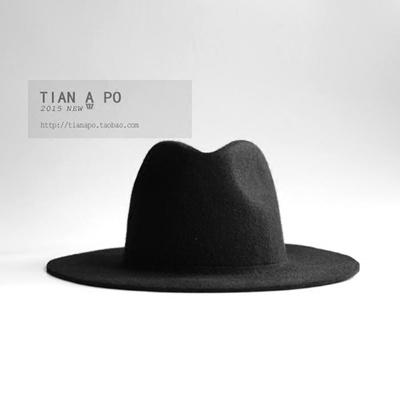 Qoo10 - Pure wool felt Hat plate one British jazz Hat dark hats   Men s  Bags   Shoes c8a8dc4dd