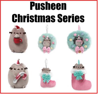 Pusheen Christmas.Gund Pusheen The Cat Christmas Designs Candy Wreath Stocking Snowman