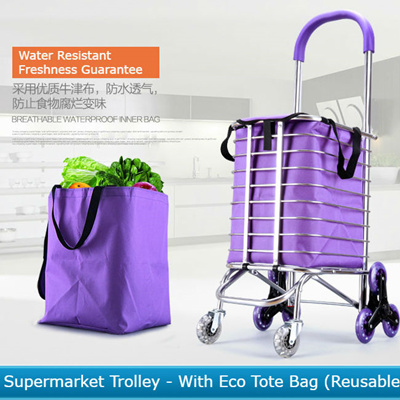 Q Deal SGMarket Grocery Trolley Cart (Stair-Climbing Wheels) *  Portable/Foldable/Light/Durable * 3-Wheel