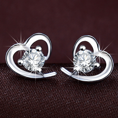 Q Lovely 925 Sterling Silver Heart With Shaped Earrings Female