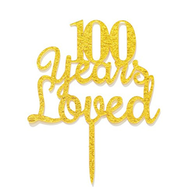 Qttier 100 Years Loved Cake Topper Happy 100th Birthday Anniversary Party Decoration Premium Quality