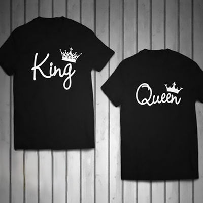 3cb3bd12e6a3 Qoo10 - Queen King Crown Couple T Shirt Cotton Short Sleeves for Men and  Women : Men's Clothing
