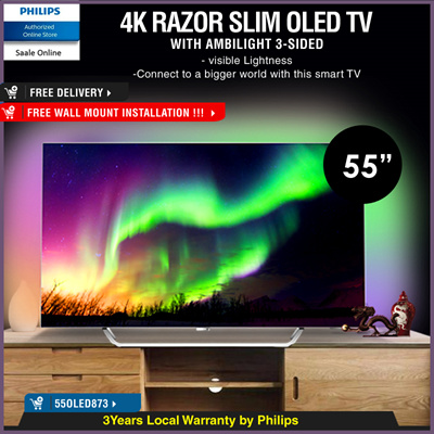 [PHILIPS]*QUUBE PROMO* Philips 8 series Razor Slim 4K UHD OLED Android 55  inch TV with Ambilight 55OLED873