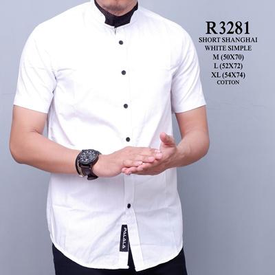 Qoo10 R3281 Baju Kemeja Pria Putih Polos Lengan Pendek