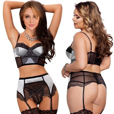 9ebb94afa1 Qoo10 - R80093 Comeondear Womens Lace Patchwork Lingerie Set Bra with Garter  B...   Underwear   Sock.
