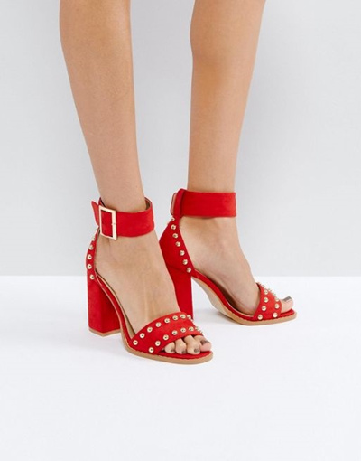 7b4b14ec3bdf Qoo10 - RAID Jessie Red Studded Block Heeled Sandals   Shoes