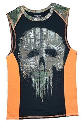 (Realtree) Marvel Comics Punisher Realtree Camo Sleeveless Muscle Shirt- 9c7f7ae398d5