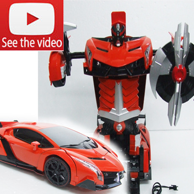 Red 2319 Troopers Sports Car Transformers RC Car Robot Remote Control Car  Radio Control Deform Robot