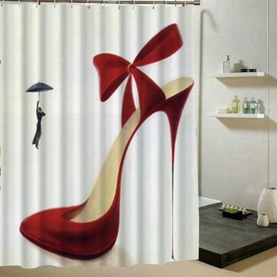 Red High Heel Pattern Waterproof Polyester Shower Curtain Bathroom Decor Digital Printing Patern Wit