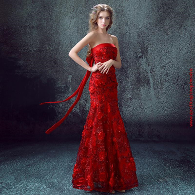 Qoo10 - Red Lace Bridal Wedding Toast Clothing Long Section Fishtail ...