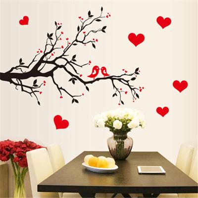 qoo10 red love heart wall stickers bird decal bedroom living room