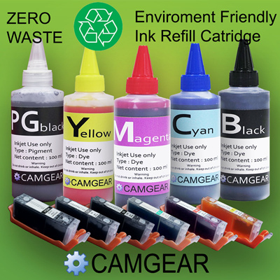 Refillable Universal Ink for Inkjet printers  Refill Bottles and Auto Ink  level Reset Cartridges