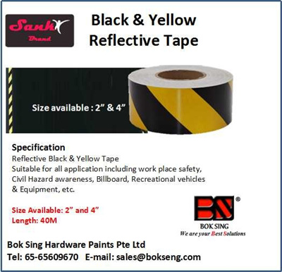 Reflective Tape Black and Yellow (2x40m)