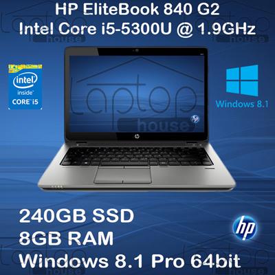 [Hewlett-Packard ][REFURBISHED] HP Elitebook 840 G2 Notebook PC / Intel  Core i5-5300U /1 9GHz/ 8BG RAM/240GB SSD