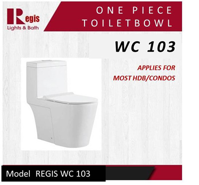 Qoo10 regis model wc 103 one piece toilet bowl c w soft closing uf seat cov furniture - Model deco wc ...