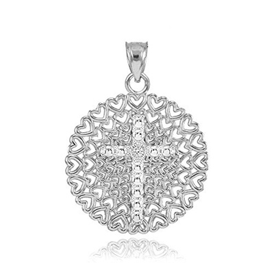 Religious Jewelry by FDJ 925 Sterling Silver CZ-Accented Eastern Orthodox Cross Pendant Necklace