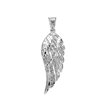 Qoo10 - (Religious Jewelry by FDJ) Textured 925 Sterling Silver Angel Wing Cha... : Watch & Jewelry