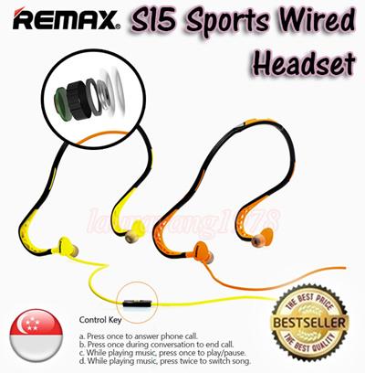 c937e762e39 ☆SG Seller☆ Original Remax RM-S15 Sports Wired Headset Neckband Headphone  Stereo Earphone