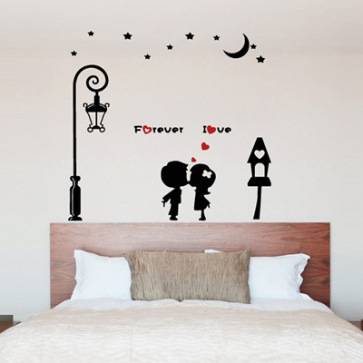 Removable Wall Sticker Wallpaper Street Love The Living Room Bedroom Warm P