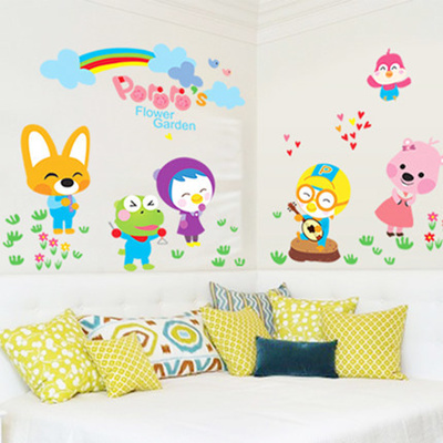 qoo10 - removable wall stickers penguin pororo cartoons for children