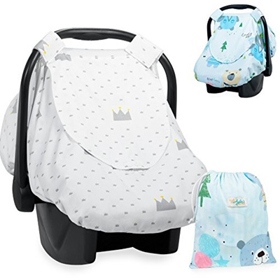 Reversible Car Seat Canopy Infant Car Seat Cover For Boys Or Girls Blue And White Nursing Cover