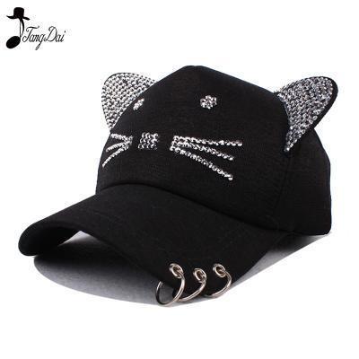 78bdb2a7bc2 Qoo10 - rhinestone snapback cute cat ears cartoon set auger baseball cap  women...   Fashion Accessor.